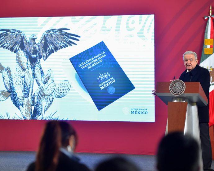 Presidente mexicano Andrés Manuel López Obrador (AMLO) durante la conferencia de prensa del jueves 26 de noviembre de 2020. Foto por gobierno mexicano.