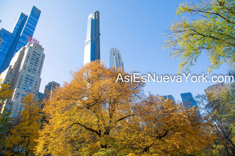 Sábado 14 de noviembre de 2020. Manhattan, ciudad de Nueva York – Árboles con hojas amarillas en otoño en el Parque Central y rascacielos. Foto por Javier Soriano/www.JavierSoriano.com