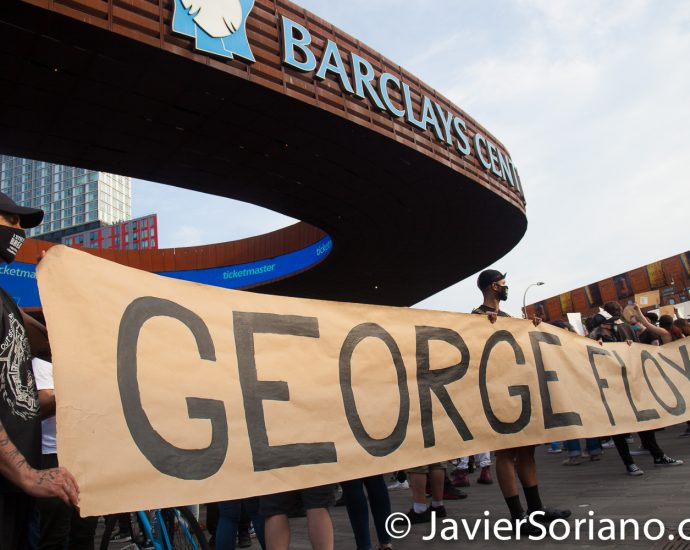 Friday, May 29, 2020. Brooklyn, New York City – Rally at Barclays Center to demand justice for George Floyd. Photo by Javier Soriano/www.JavierSoriano.com
