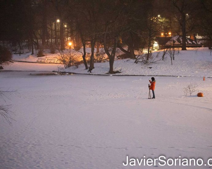 Monday, February 15, 2021. Brooklyn, New York City - A person walking on a frozen lake in Prospect Park. Photo by Javier Soriano/www.JavierSoriano.com