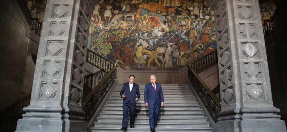 Miércoles 24 de marzo de 2021. Ciudad de México - Presidente de México, Andrés Manuel López Obrador y presidente del Estado Plurinacional de Bolivia, Luis Alberto Arce Catacora. Foto por el Gobierno de México.