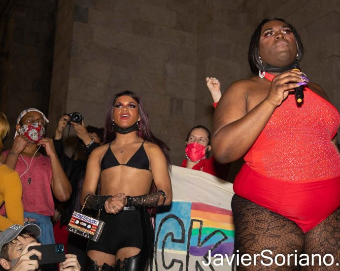 "Thursday, March 11, 2021. Manhattan, New York City - The Stonewall Protests: ""The Sex Workers March for Black Trans and Queer people"". Protestors marched from The Stonewall Inn to St. Patrick's Cathedral. Since the summer of 2020, Joel Rivera and Qween Jean have been leading rallies and marches for Black trans liberation in New York City every Thursday. Photo by Javier Soriano/www.JavierSoriano.com"