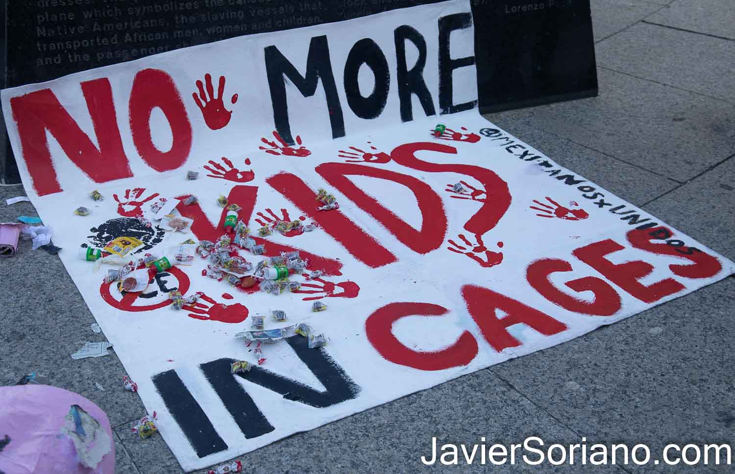 "Sunday, March 7, 2021. New York City – The group Mexicanos Unidos held the rally and march ""NO MORE KIDS IN CAGES."" Joe Biden and Kamala Harris reopened two Trump-era concentration camps for migrant children. One detention center is in Carrizo Springs, Texas and one detention center in Florida. Photo by Javier Soriano/www.JavierSoriano.com"