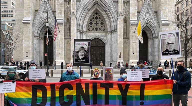 Sunday, April 4, 2021. Manhattan, New York City - LGBT New Yorkers rallied outside St. Patrick's Cathedral on Easter Sunday in response to the recent Vatican document banning Church blessings for same sex couples. Photo by Garry Rissman.