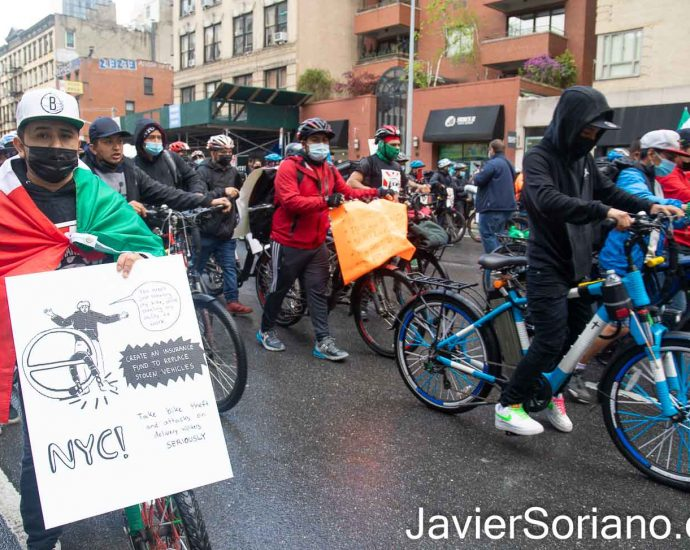 "Wednesday, April 21, 2021. Manhattan, New York City – Thousands of food delivery workers (essential workers) marched from Times Square to Foley Square in Manhattan. Deliveristas demand justice for Francisco Villalva Vitinio. Francisco was an essential worker man. He was shot and killed on Monday, March 29, 2021, in East Harlem, Manhattan. In addition, they demand justice, protections and better working conditions. The sign of this essential worker says: ""You aren't just stealing my bike, you're stealing my ability to work. Create an insurance fund to replace stolen vehicles. NYC, take bike theft and attacks on delivery workers SERIOUSLY."" Photo by Javier Soriano/www.JavierSoriano.com"