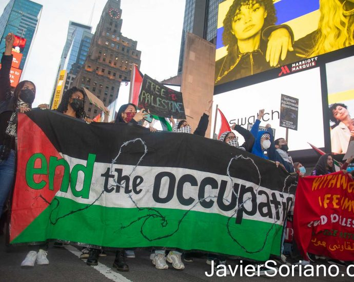 Tuesday, May 11, 2021. Manhattan, New York City - NY4Palestine, Palestinian Youth Movement (PYM), Al-Awda NY: The Palestine Right to Return Coalition, Samidoun Palestinian Prisoner Solidarity Network and Within our Lifetime • United for Palestine held a rally and march in solidarity with Palestine and its resistance. Thousands of Palestinians and their allies gathered outside the Zionist (Israeli) mission to the United Nations. After the rally, they marched to Times Square and then to Central Park/Columbus Circle in Manhattan, New York City. Photo by Javier Soriano/www.JavierSoriano.com