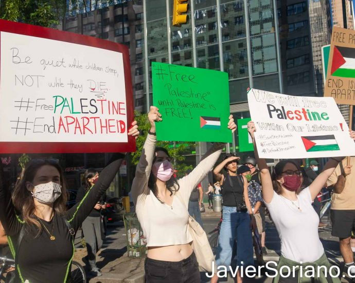 Friday, May 14, 2021. Manhattan, New York City – Palestinians and their allies held a teach-in and a march in the borough of Manhattan, New York City. Activists chanted different slogans demanding freedom for Palestine. Photo by Javier Soriano/www.JavierSoriano.com