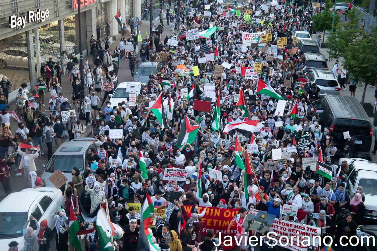 "Saturday, May 15, 2021. New York City – Thousands of Palestinians and their allies gathered in Bay Ridge, Brooklyn for the demonstration: ""NAKBA 73: DEFEND PALESTINE FROM THE RIVER TO THE SEA."" After the rally in Bay Ridge, they marched through different streets in Brooklyn. The march ended in Sunset Park, in the same borough of Brooklyn. Photo by Javier Soriano/www.JavierSoriano.com"