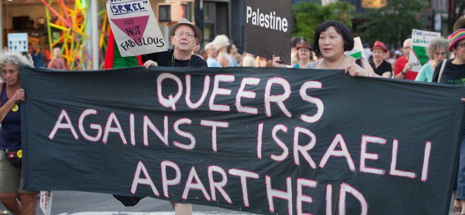 "FILE PHOTO. 6/13/2015 NYC – Brooklyn PRIDE Parade 2015. ""Queers against Israeli Apartheid."" Photo by Javier Soriano/www.JavierSoriano.com"