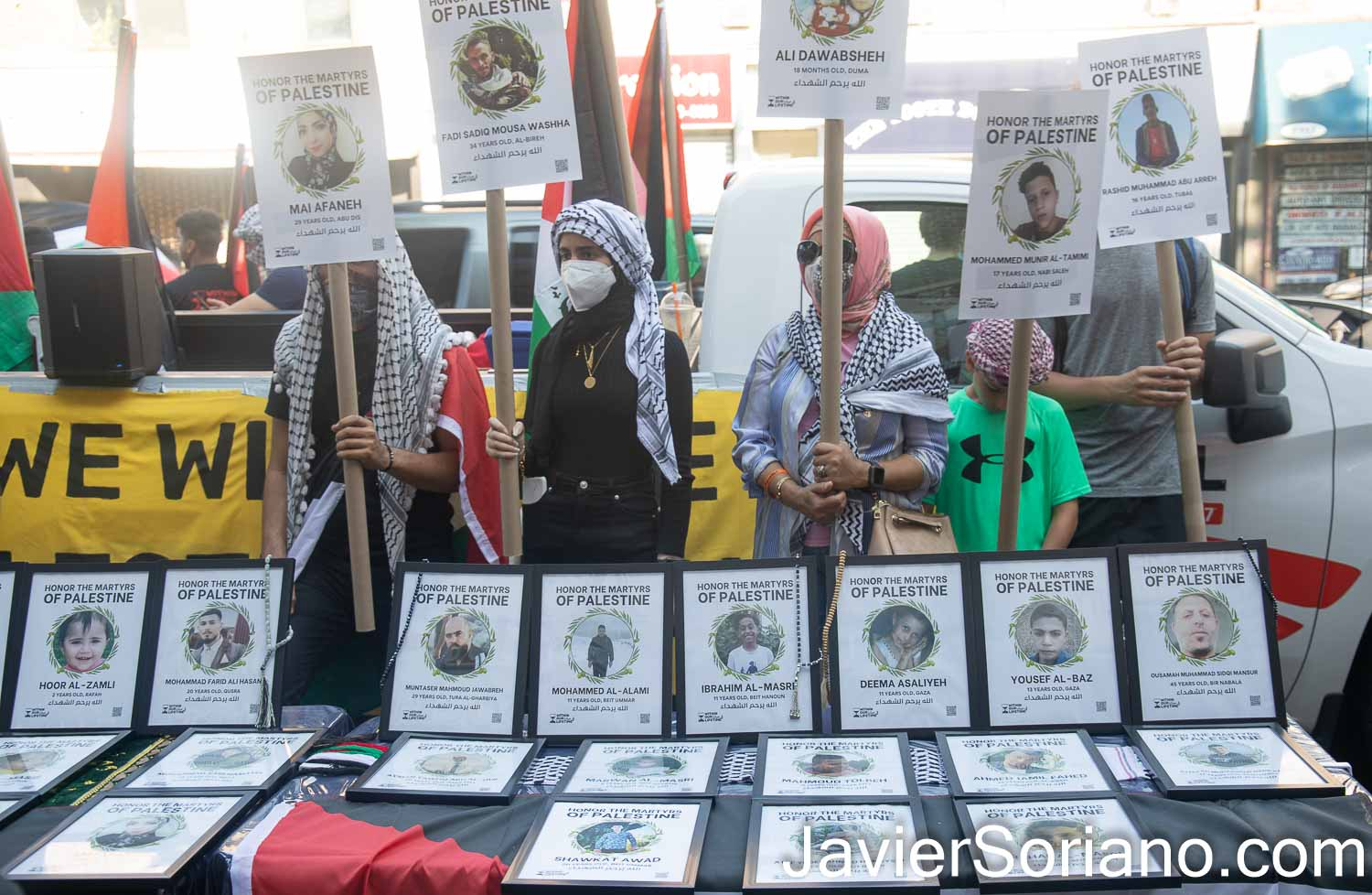 Saturday, July 31, 2021. Brooklyn, New York City – Memorial, rally and march in Bay Ridge, Brooklyn; New York City, to honor the martyrs of Palestine. THIS PHOTO: Some of the women, men and children killed by the terrorist state of Israel. Photo by Javier Soriano/www.JavierSoriano.com