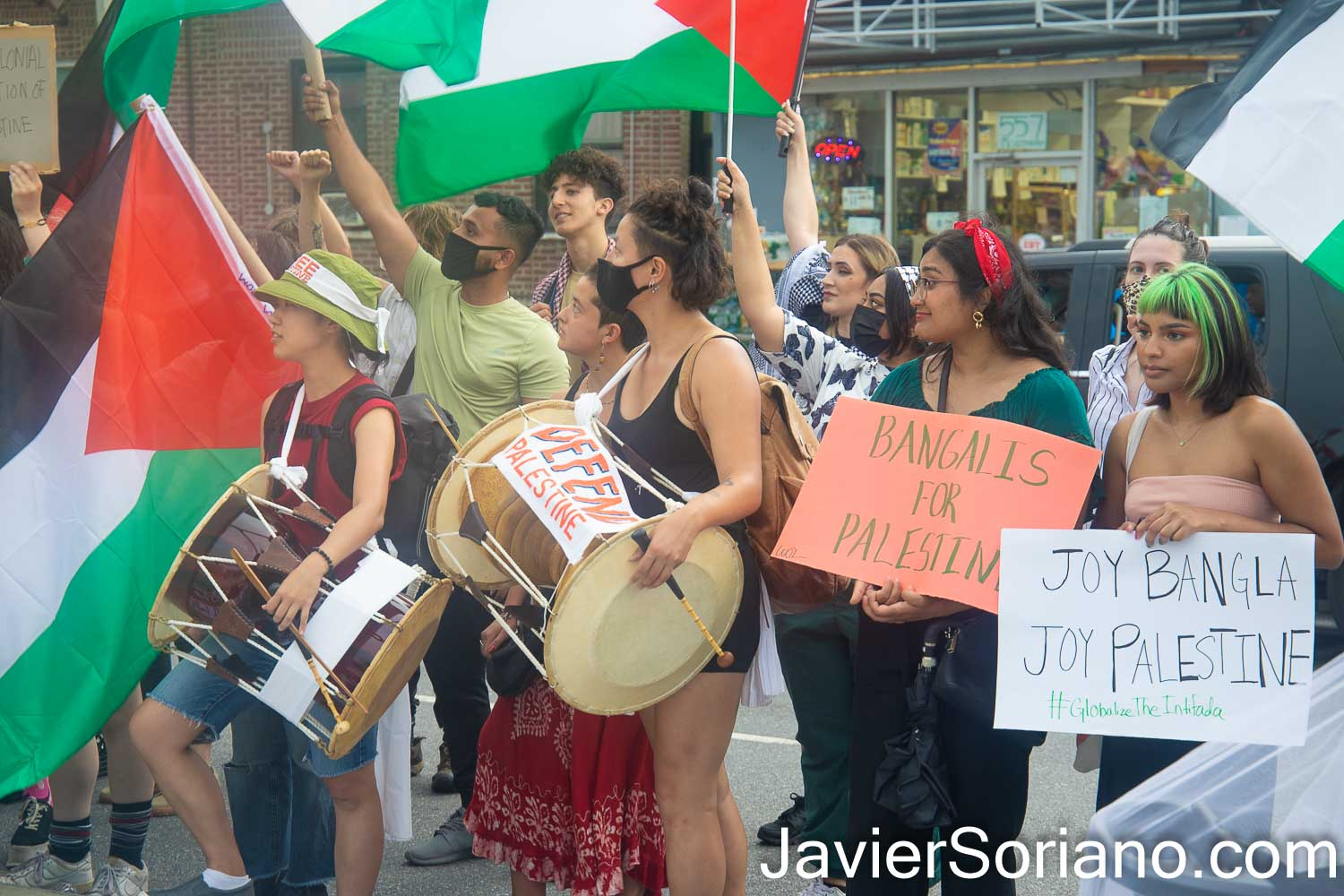 """Saturday, July 17, 2021. Brooklyn, New York City – The organization Within Our Lifetime held a rally and march in Kensington (the heart of the Bangladeshi community) """"in defense of Silwan and ALL of Palestine."""" Photo by Javier Soriano/www.JavierSoriano.com"""