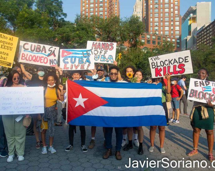 Thursday, July 15, 2021. Manhattan, New York City – People gathered in Union Square to show solidarity with the Cuban government and the Cuban people. Photo by Javier Soriano/www.JavierSoriano.com