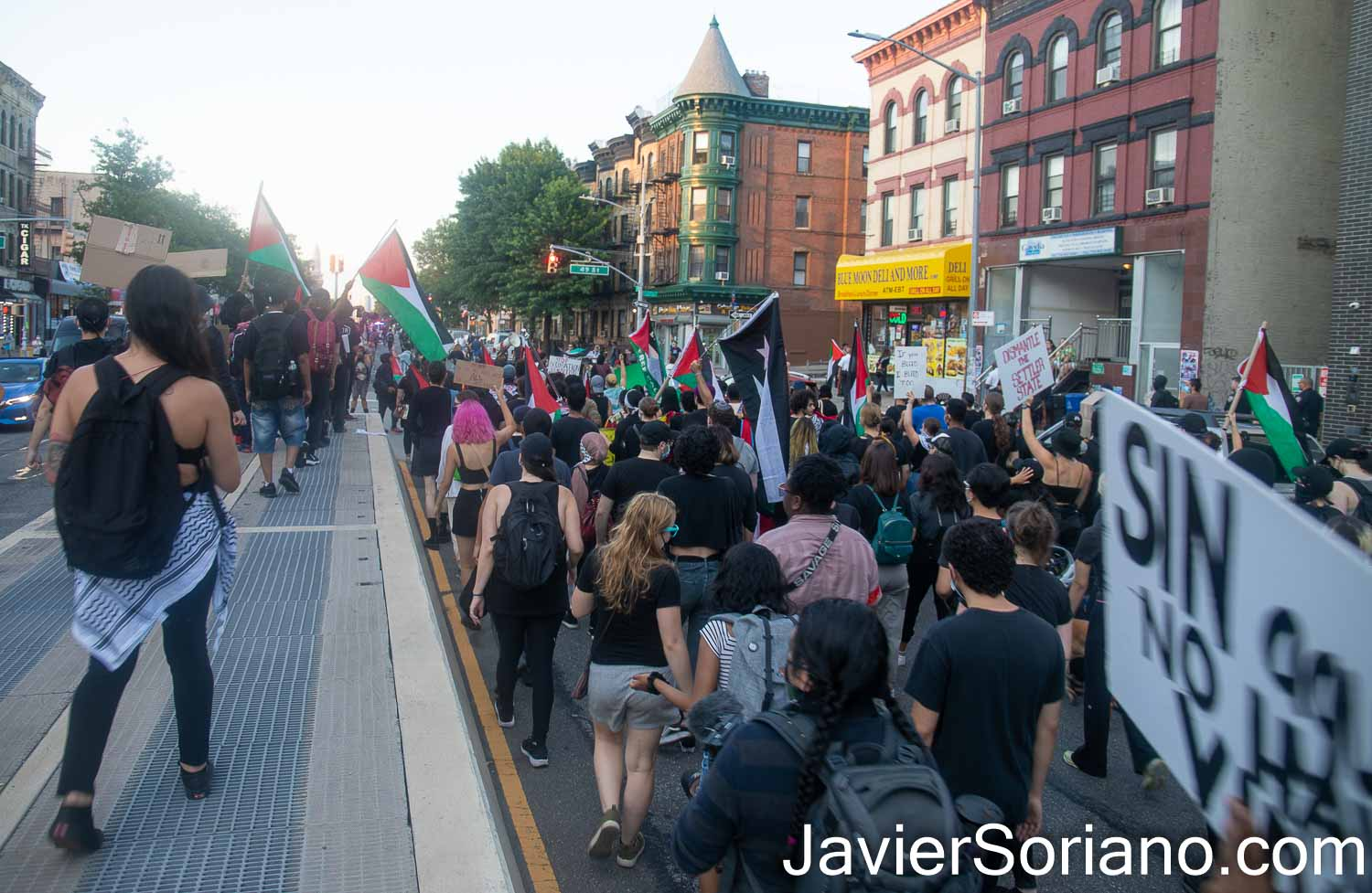"""Sunday, July 4th, 2021. Brooklyn, New York City – Mexicanos Unidos held its Sixth tianguis Plaza Tonatiuh. After Plaza Tonatiuh, they held a demonstration """"to denounce mass deportations, family separation, and child incarceration."""" Photo by Javier Soriano/www.JavierSoriano.com"""