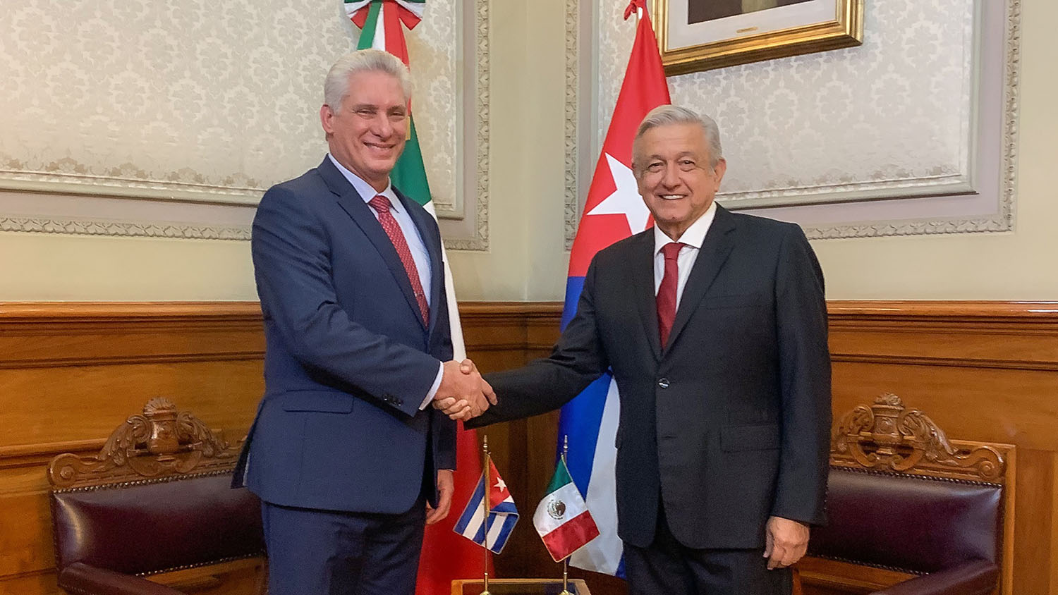 Saturday, December 1, 2018. Mexico City – Miguel Díaz-Canel Bermúdez, President of the Republic of Cuba and Andrés Manuel López Obrador, President of Mexico. Photo by the Mexican government.