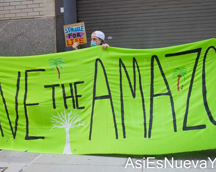 Tuesday, August 24, 2021. Manhattan, New York City – The organization Extinction Rebellion NYC held a demonstration outside the Brazilian Consulate in Manhattan, New York City, in solidarity with the Organization of Indigenous Peoples of Brazil (Articulação dos Povos Indígenas do Brasil [APIB]). Photo by Javier Soriano/www.JavierSoriano.com