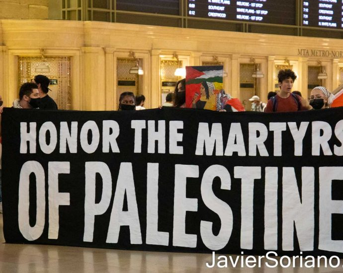 """Sunday, August 29, 2021. Manhattan, New York City - The organization Within Our Lifetime (WOL) held a demonstration inside the Grand Central Terminal. After the rally, they marched to the Israeli consulate in the same borough of Manhattan, in New York City. WOL called the demonstration: """"FREE OUR MARTYRS: DIE-IN & SPEAK OUT FOR PALESTINE."""" Protesters demanded """"the return of Palestinian martyrs bodies who are being held hostage by the Zionist (Israel) entity."""" Photo by Javier Soriano/www.JavierSoriano.com"""
